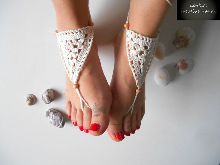 Ladies Crochet barefoot sandals-NEW, Beach barefoot sandals, Foot jewellery, Beach shoes, Anklet, Gift for her by Lenkascreativehands on Etsy