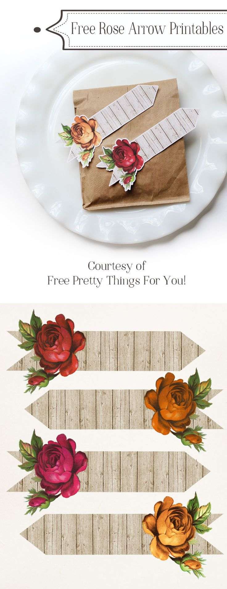 Free Autumn Rose Arrow Printables! These romantic shabby arrows would be gorgeous as a favor tag in a fall wedding, don't you think?