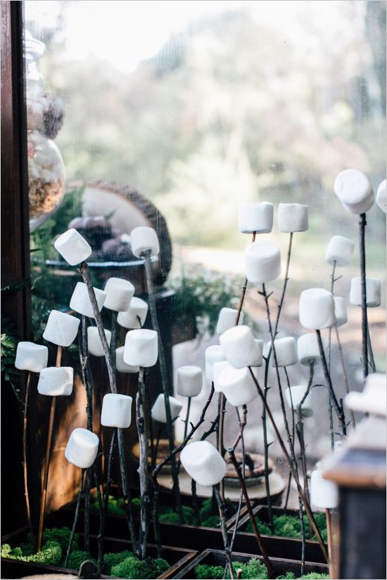 #smores bar  ideas #wedding   http://www.weddingchicks.com/2014/07/11/woodland-wedding-where-shoes-are-optional/