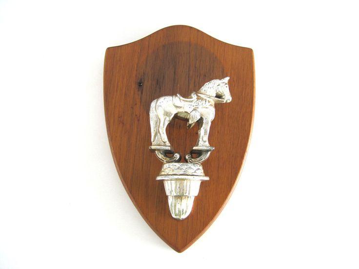 Vintage Wood Trophy Plaque Horse Figure Wooden Walnut Shield  Badge Shape Award Equestrian Wall Home Decor by BrooklynStVintage on Etsy