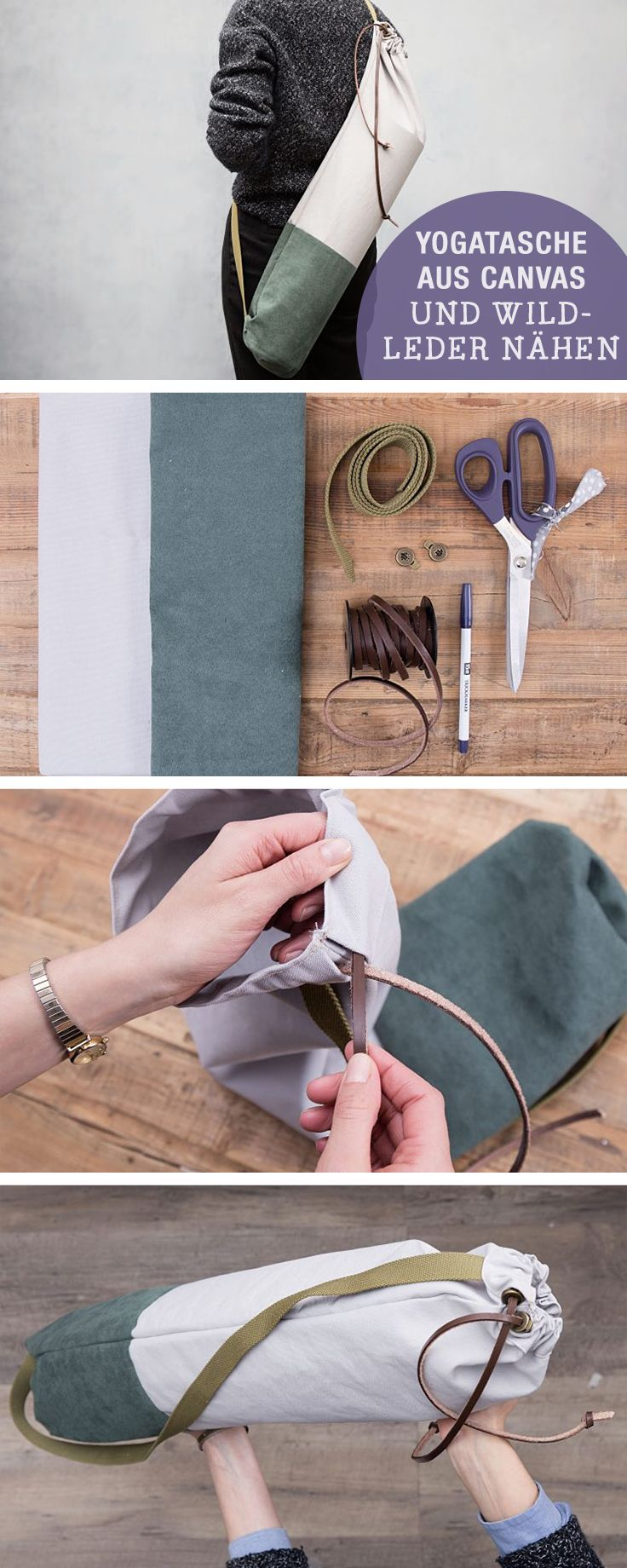 Nähanleitung: Yogatasche nähen, Canvas und Leder Materialien / diy sewing tutorial: how to sew a yoga bag, leather via DaWanda.com