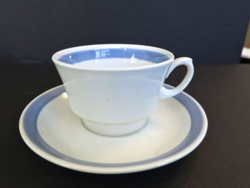 2 Mid Century Modern Arabia Ribbons Blue Cups and Saucers (pair) White Backround