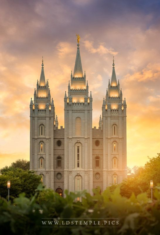 Salt Lake Temple Golden Sunset - A stunning golden sunset at the Salt Lake…