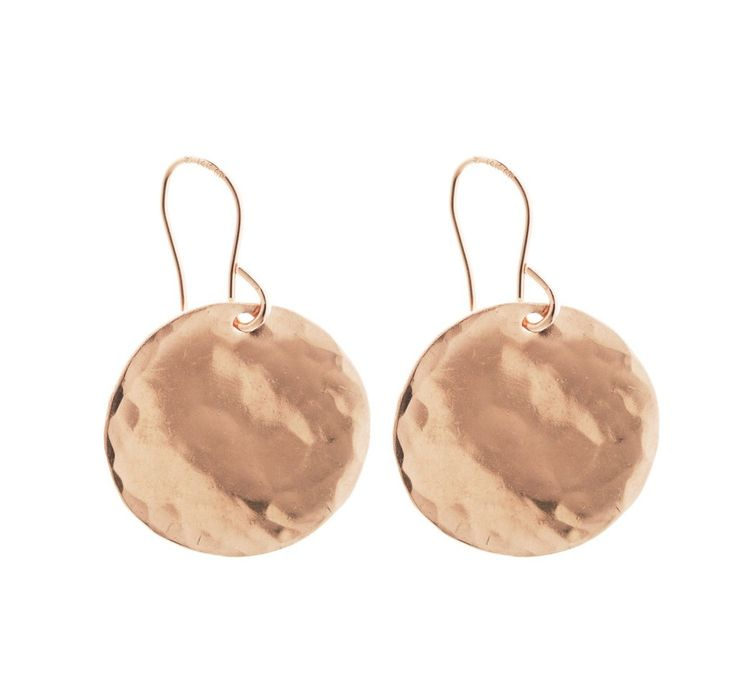 Large Hammered Disc Earrings - Gold, Silver, Rose Gold >>