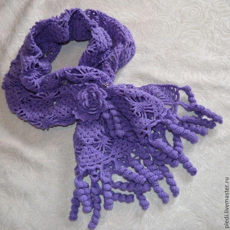 Фиолетовый шарфик - фиолетовый,однотонный,шарф,шарф женский,шарф вязаный
