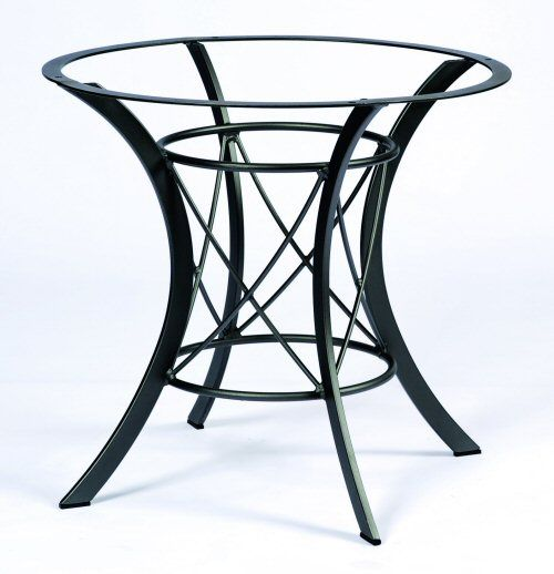 Wrought iron table bases cromwell wrought iron dining for Outdoor table bases wrought iron
