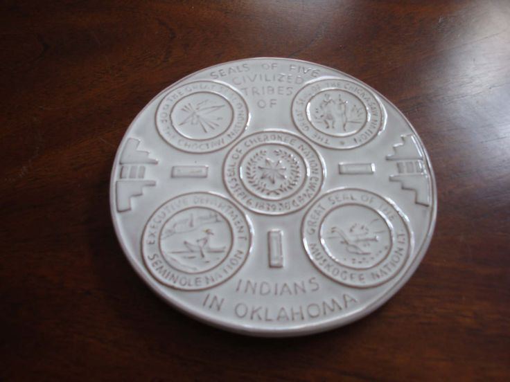 "Frankoma ""Seals of the Five CIVILIZED TRIBES of Indians in OKLAHOMA"" Kitchen Trivet or Wall Plaque! by BucketListGarnishes on Etsy"