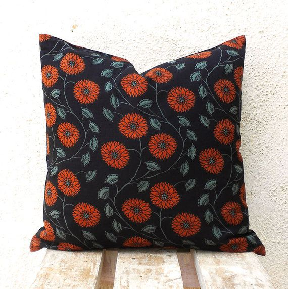 Pillow Covers  Rust and Teal Floral Pattern Hand by PillowBazaar, $32.00