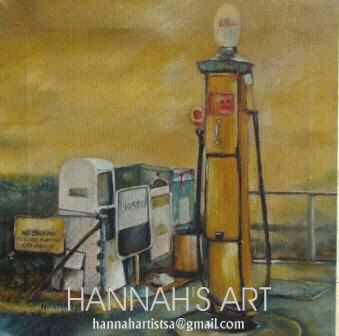 Artist: HANNAH, Old petrol pump, oil on canvas, 400 x 400, price on request.