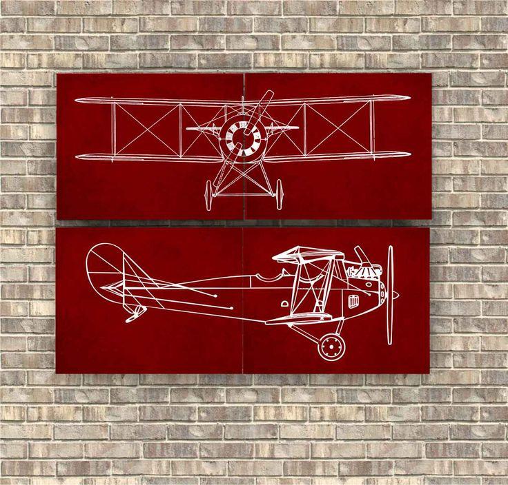 Airplane Prints set of 4 pieces, Red Airplane set, Nursery Art Decor, Aviation Poster, Transportation print, Vintage Airplane print by CavaDesign on Etsy