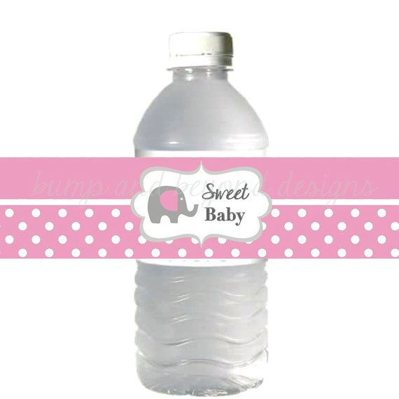 Elephant water bottle labels for baby shower favors by for Floor 9 water bottle