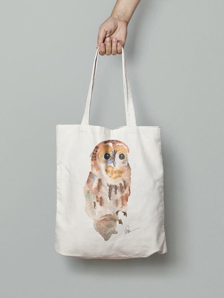 Owl hand bag- watercolor printed
