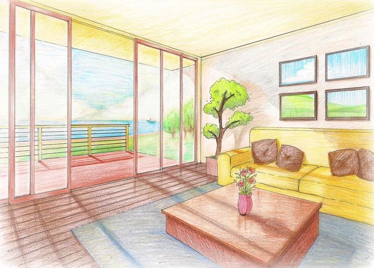 Living room perspective rendering pinterest manga for Carrelage 7 5 x 15