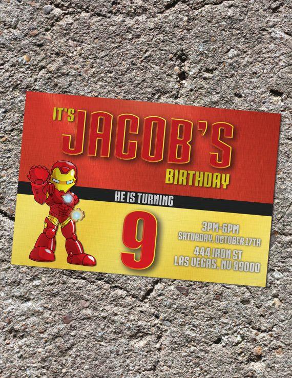 Invitacion Digital Imprimible de Cumpleaños de IronMan