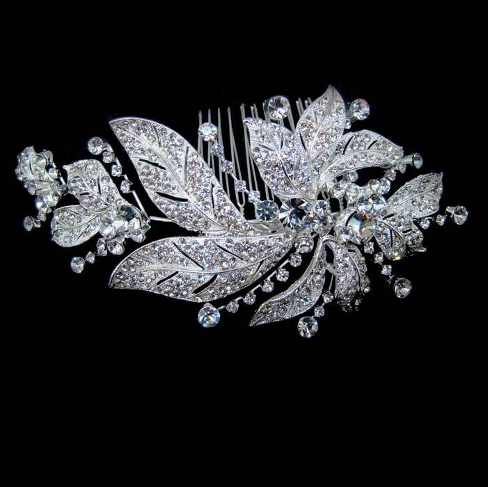 Vintage plated leaf like rhinestone crystal headpiece
