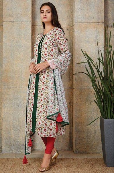 Payal Singhal Cream Straight Cut Designer Party Wear Salwar Suit