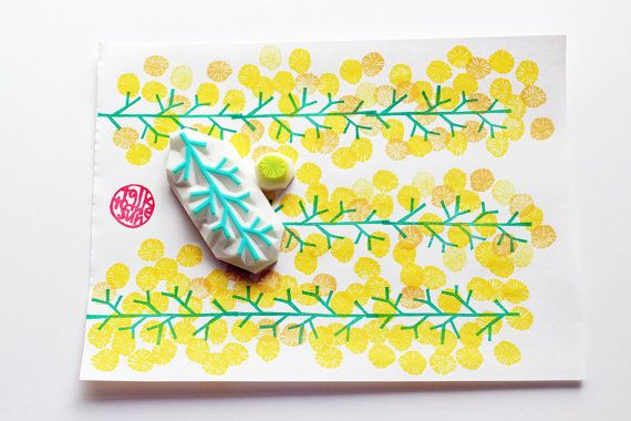 mimosa flower hand carved rubber stamps. set of 2. mimosa branch stamp. mimosa flower stamp. create vertical or horizontal floral patterns. it is simple designs so change the color of flower stamps to create different blossomed trees. this set will be useful for any occasions! each rubber stamp is designed and created by talktothesun.  SIZE: about 5.5cmX2.5cm (2.16inX1in) - tree branch stamp about 10mm - flower stamp  IDEAS FOR CRAFT PROJECTS: diy birthdays, christmas, childrens day…