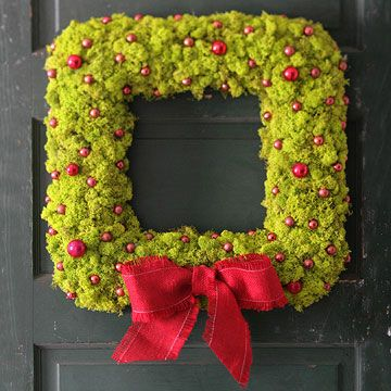 I'm a sucker for a square wreath for some reason. (From BHG)