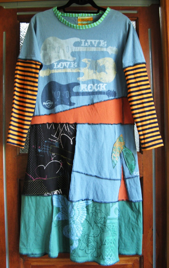 Artsy Upcycled T Shirt Dress Small by maisestudio on Etsy, $98.00