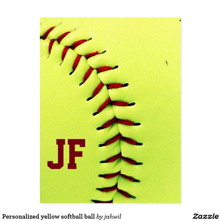 Personalized yellow softball ball postcard #softball #sport #custom #personalized #monogram
