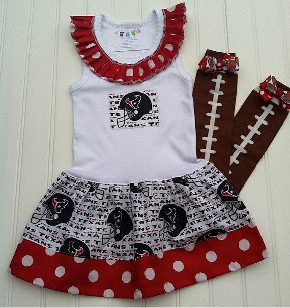 Houston Texans Ruffle Neck Dress Available 03 by BabyThreadsByLiz, $25.00
