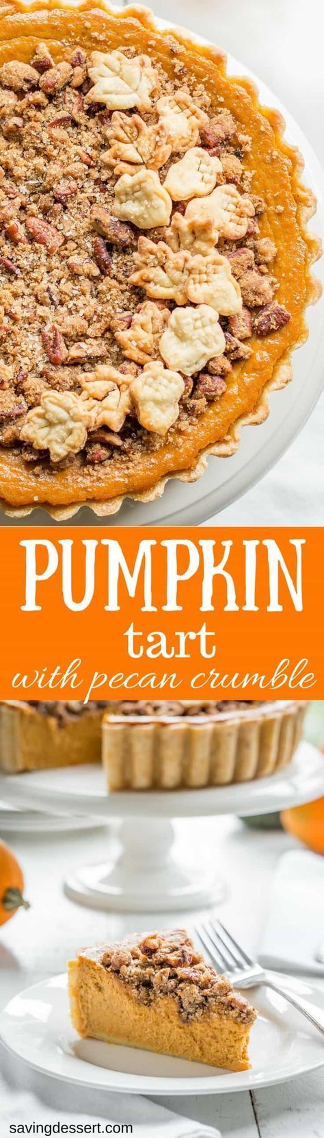 Pumpkin Tart with Pecan Crumble ~ a surprisingly unique and delicious tart with a cream cheese pumpkin base and a sweet, crunchy crumble top loaded with toasted pecans. www.savingdessert.com #pumpkin #pumpkintart #pumpkinpie #Thanksgivingdessert #thanksgiving #sponsored #nielsenmassey #ad