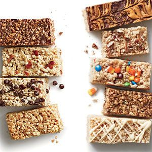 Crispy Rice Bar Recipes | double chocolate, maple bacon, cherry chip, espresso toffee, chocolate butterscotch, browned butter pecan, candy corn m&m's, s'mores, and lemon white chocolate
