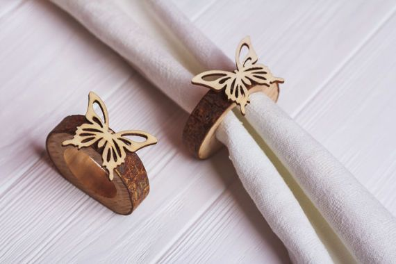 10 set Wood Rustic Napkin Rings Easter table decor Easter