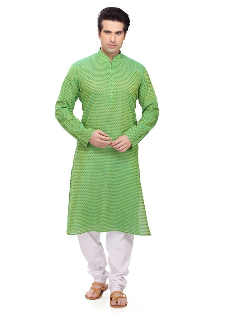 Amazing Green Color Ethnic Kurta Payjama  Get admirable glances every time you walk wearing this Green Cotton Readymade Kurta. Garment features elaborate Readymade Kurta decorated with different patterns.