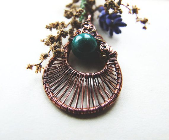 Forest Necklace Green Gemstone Copper Necklace by KicaBijoux