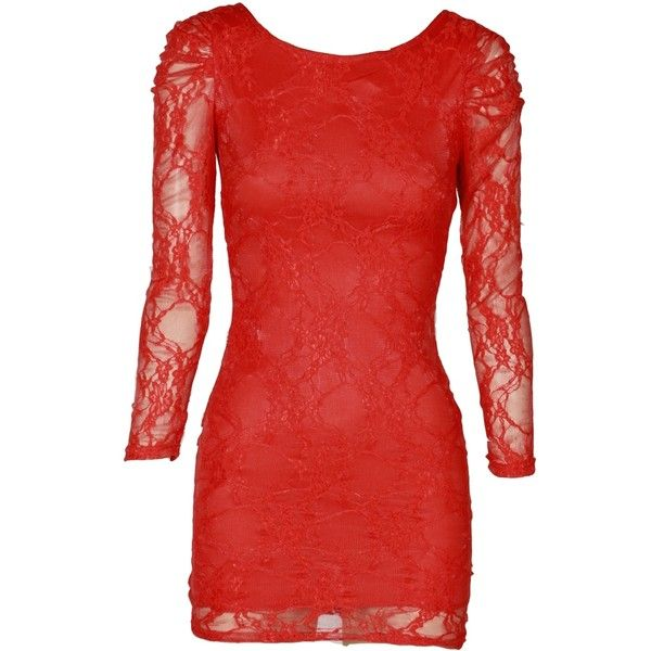 Red V Neck Back Lace Layered Long Sleeve Dress ($15) ❤ liked on Polyvore