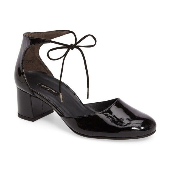 Women's Paul Green Molly Lace-Up Pump (109.855 CRC) ❤ liked on Polyvore featuring shoes, pumps, black patent, lace up pumps, black pumps, black laced shoes, black lace up shoes and lace up shoes