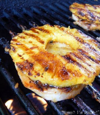 Honey Grilled Pork Chops 4 pork chops 8 oz can sliced pineapple in juice (but fresh is so much better, and just puree some of the pineapple for juice) 1/3 Cup honey 1 Tbl. prepared mustard 1 tsp. curry powder 1/2 tsp. salt 1/8 tsp. pepper 1/8 tsp. hot pepper sauce