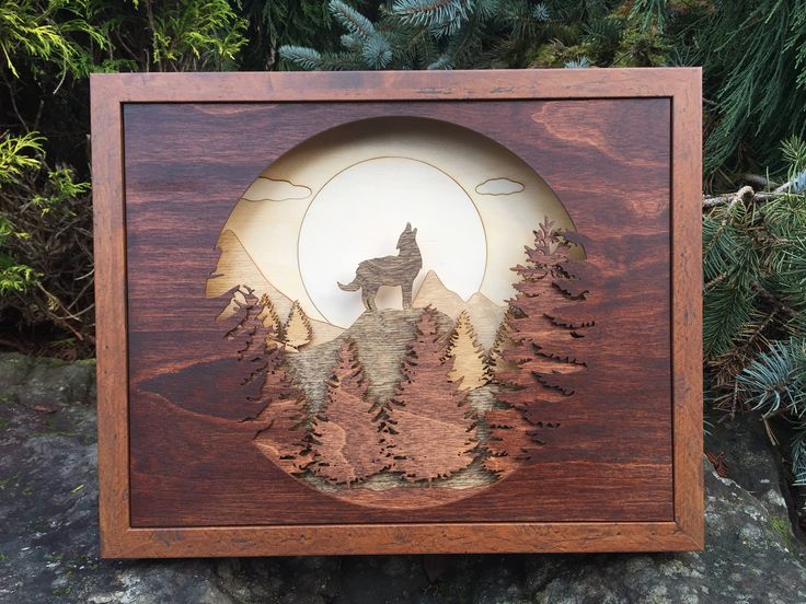 Excited to share the latest addition to my #etsy shop: 3D Laser Cut Shadow Box Wood Scene Inlaid /Howling Wolf Natural Shades in Circle / Moon / Mountains / Forest / Handcrafted / Custom Design http://etsy.me/2DJoAgT #art #3dwoodshadowbox #woodinlaid #forestscene #moon