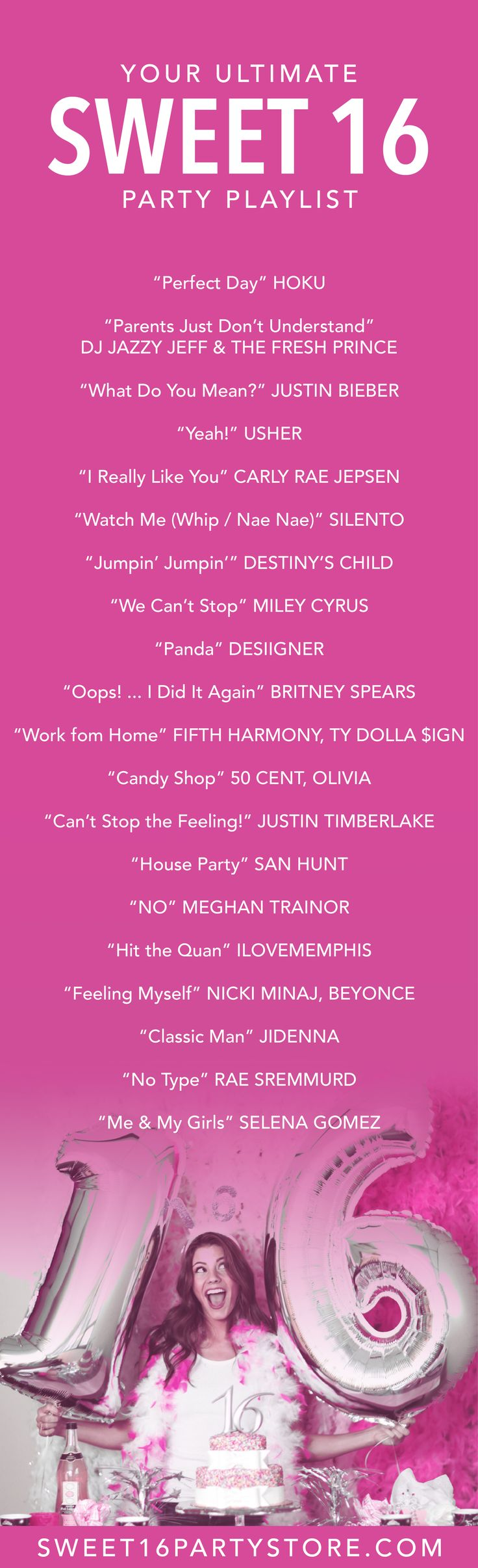 The ULTIMATE Sweet 16 Party Playlist from Sweet 16 Party Store!                                                                                                                                                                                 More