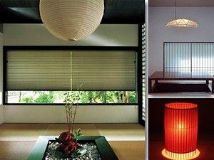 主役級の存在感を放つ和室照明でイメージ一新[左:プリーツスクリーン/TOSO、右上:遊架ペンダント/ヤマギワ、右下:KOTORI和紙自立式スタンド/AllAboutスタイルストア]
