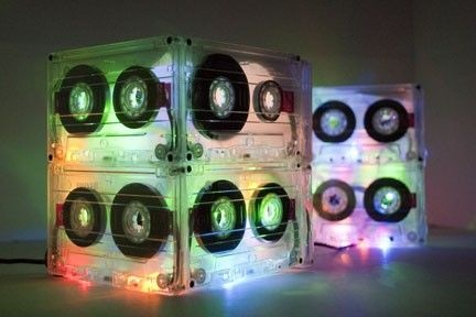 80s Lighted Cassette Tape Centerpiece (uses old cassettes and christmas lights)