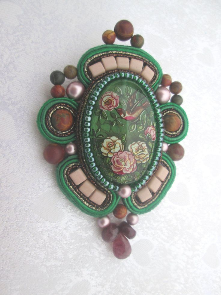 Soutache brooch with a bird by CharmingSoutache on Etsy