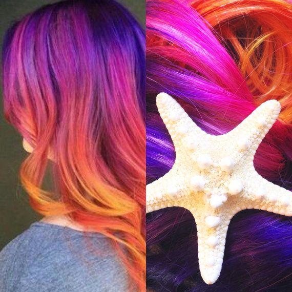 Sunset color hair extensions, ombre hair extensions,  Hair Extensions Clip in, Purple Hair, Pink Hair, Mermaid Hair, Clip-in Hair