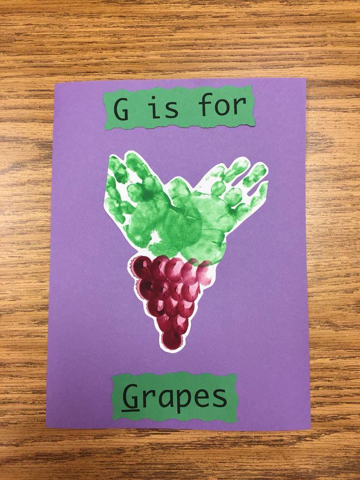 G is for grapes handprint pic   Letter G   Pinterest
