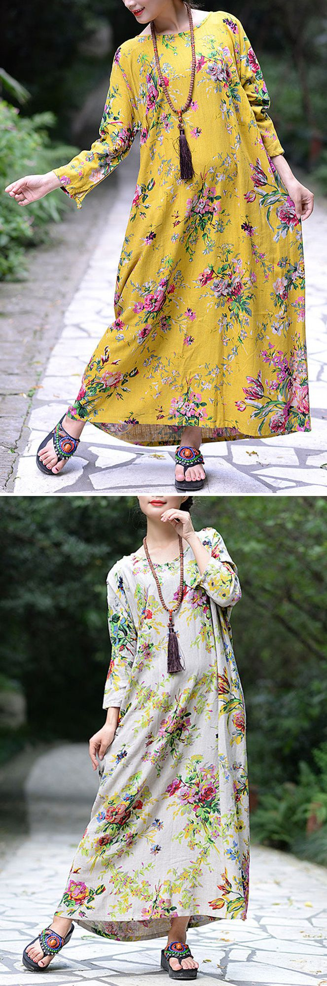 US$ 25.99 Chinese Style Floral O-Neck Long Sleeve Maxi Dress For Women