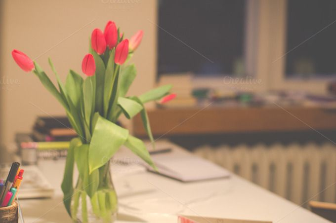 Tulips in a vase by LarisaDeac on @creativemarket