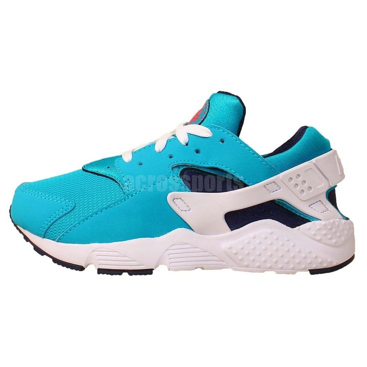 white and blue nike huarache
