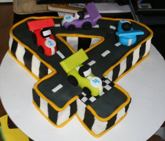 Four Racetrack Number Cake