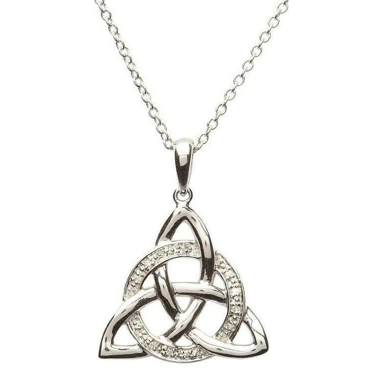 Sterling Silver Celtic Trinity Knot Diamond Set Pendant