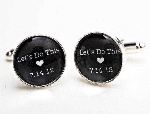 Wedding cufflinks. Would be a cute present from the bride to the groom on the day of the wedding.