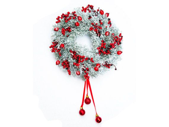 Snowing Christmas wreath, Front Door Wreath, Outdoor Wreath