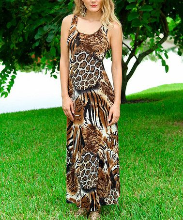 This Brown Leopard Racerback Maxi Dress is perfect! #zulilyfinds