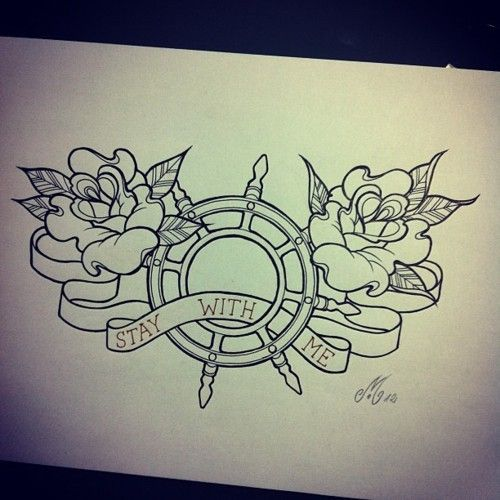 Roses and nautical inspired tattoo. Possible to go with back piece. different quote though