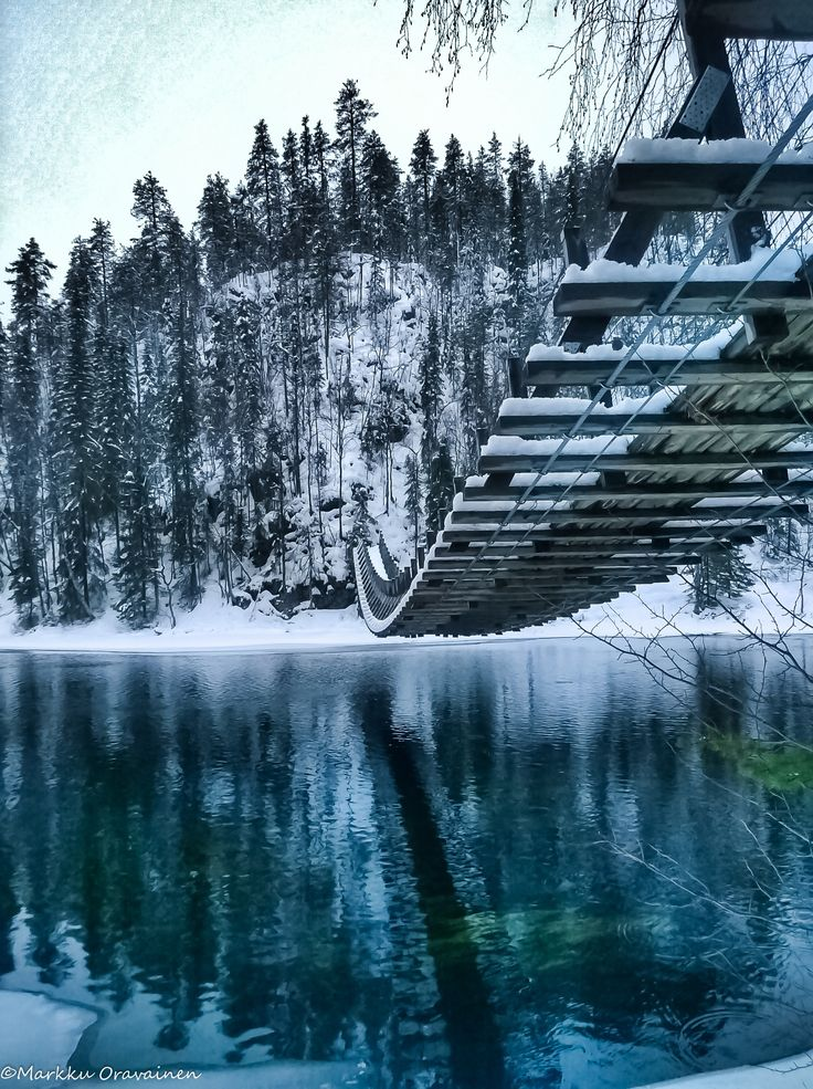 winter suspension bridge, kuusamo's harrisuvanto, finland | travel destinations in europe + architecture #adventure